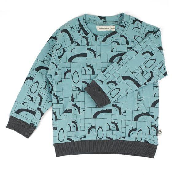 Heerlijke sweater / trui met zakken. Met monstermotieven. Of monsterlijke motieven. Grrr.... pas maar op! :-)