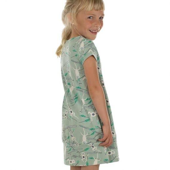 Comfortabel zomers jurkje met monkey print gemaakt van biologisch jersey katoen.