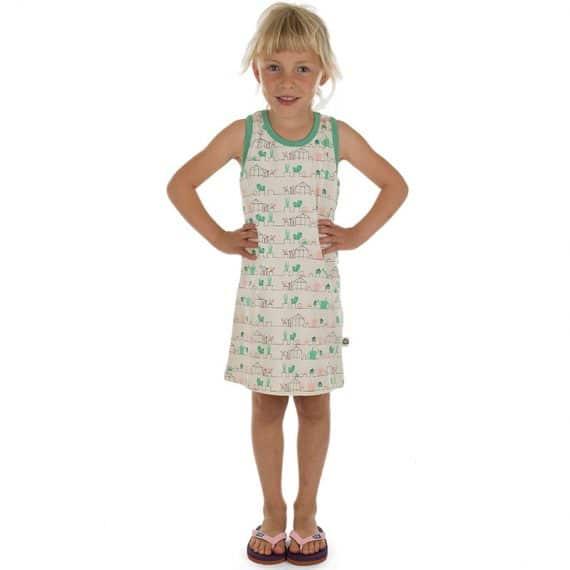 Comfortabel zomers jurkje gemaakt van biologisch jersey katoen. Met Gardening print.